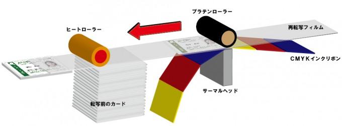 白カード+再転写印字の印刷方法